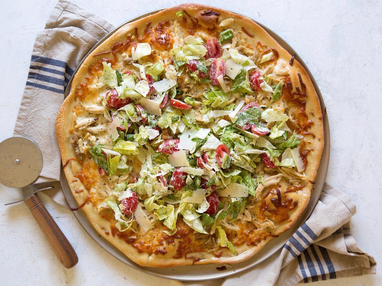Chicken Caesar Salad Pizza - Emily Bites