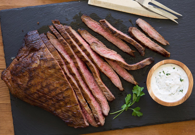 Flank Steak With Creamy Horseradish Sauce