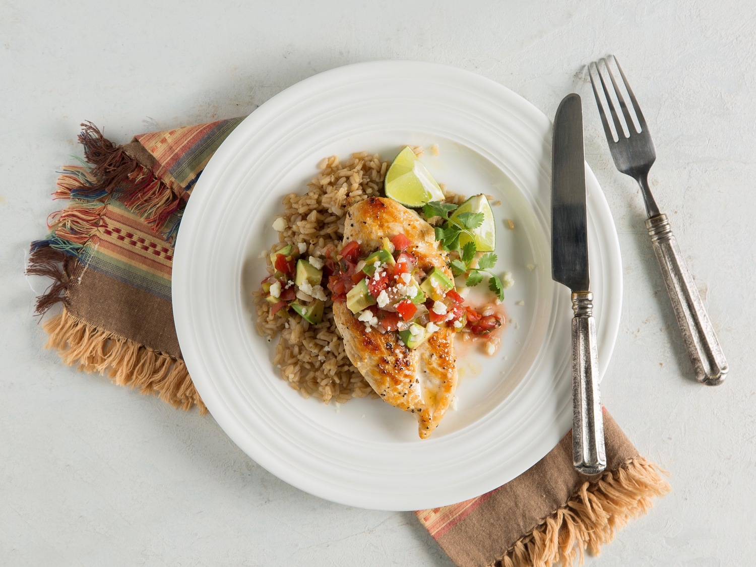 Tomato avocado chicken and rice meal idea from eMeals.com.